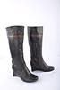 """Earthies """"Newcastle"""" Tall Wedge Boot, Black with Brown Trim"""