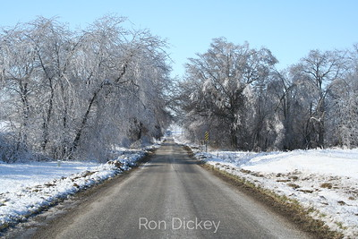 Country Road on a Wintry Ice Covered Day