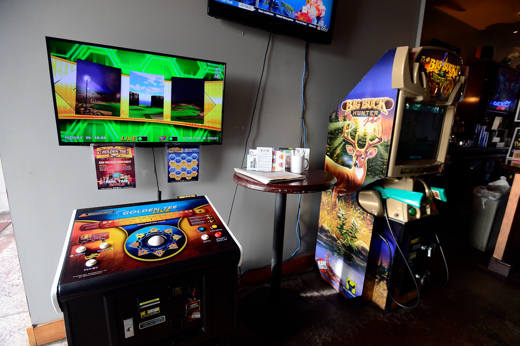 . Video games including golf and hunting games at the Rusty Melon in Erie. For more photos go to dailycamera.com. (Photo by Paul Aiken/Staff Photographer)