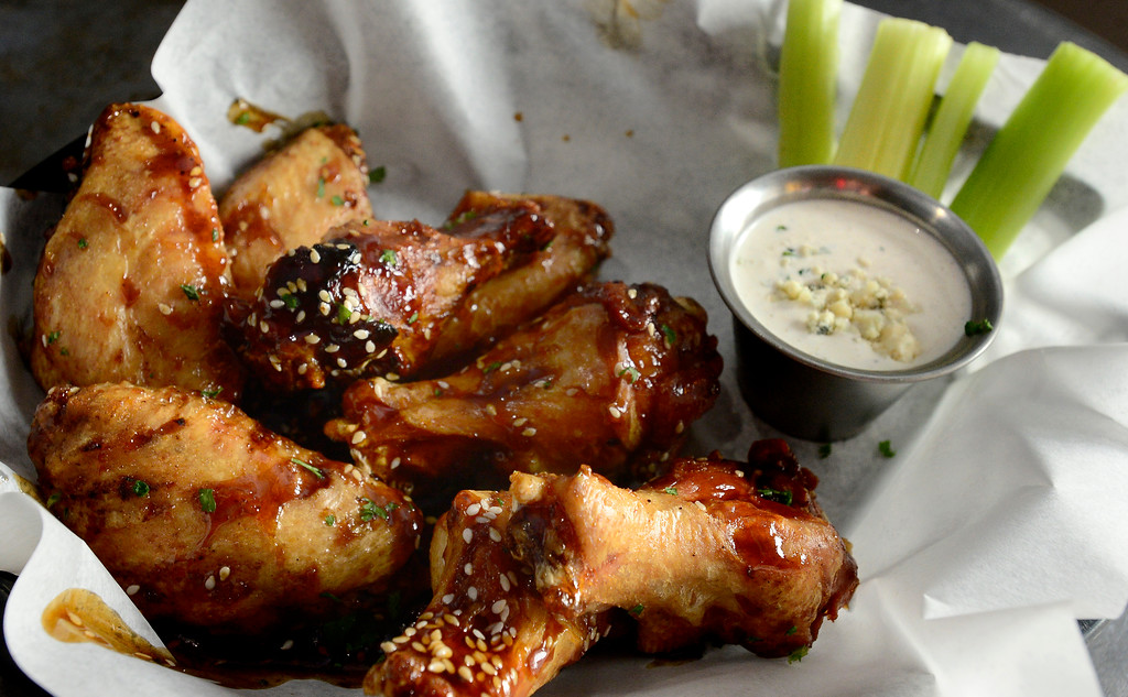 . BOULDER, CO - JANUARY 09, 2019 The House Smoked Wings at the Rusty Melon in Erie.  Jumbo wings with choice of sauce and dressing bbq, rusty\'s reaper sauce, buffalo, honey sriracha, teriyaki, jerk seasoning, naked. For more photos go to dailycamera.com. (Photo by Paul Aiken/Staff Photographer)