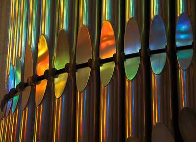 The play of light on the organ pipes of the Sagrada Familia, Barcelona.