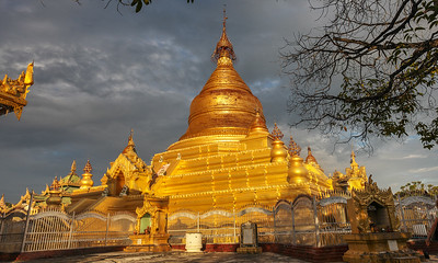 The magnificent Shwemawdaw Pagoda in Bago, Myanmar. Often referred to as the Golden God Temple, it is 374 feet high.