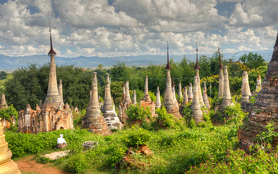 A forest of crumbling stupas at Nyaung Ohak near Inle Lake in Myanmar. These date from the 14th century.