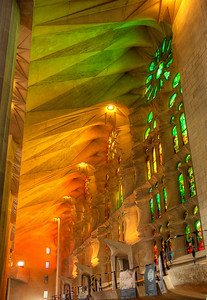 "The magnificent play of light in the Sagrada Familia, or Basilica of the Sacred Family in Barcelona, Spain. Construction began in 1882 and it is due to be completed in 2026. It was designed by architect Antoni Gaudi who said, ""Architecture is the arrangement of light."""