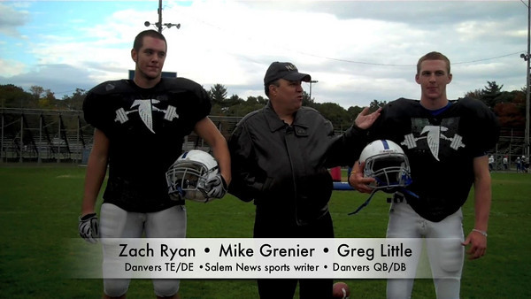 Salem News sports writer Mike Grenier chats with Zach Ryan and Greg Little of the Danvers Falcons football team.