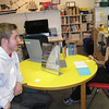 Ollie Beck, 16, who is from Northern Ireland, talks to Phoenix School student Jack Custer, 8.<br /> Photo by Amanda McGregor/Salem News, Tuesday,  October 26, 2010.