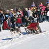 Fans cheer on a racer in the One-Dog Junior Race during the Myopia Sled Dog races Saturday. Dan Ryan/Staff photo.