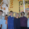 Salem: Grade four students (from left) Cameron Sakowich, Andrew Murray, Francis Afflitto, Anna Maria Nabozny, Sia-Linda Lebbie and Maria Cahaghouri, most of whom have attended St. Joseph School since pre-kindergarten, pose by a wall of paper footprints all the students made to symbolize where they will attend school next year when St. Joseph's is closed. Photo by Amanda McGregor/Staff Photographer Tuesday, June 9, 2009.