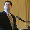 SALEM: State Rep. Steven Walsh, D-Lynn, speaks to the North Shore Chamber of Commerce about health care financing reform during an executive breakfast forum at the Hawthorne Hotel. His message was the present fee-for-service health care system is unsustainable, and reforms are needed to bring costs down. Ethan Forman/Staff photographer Feb. 8, 2012.