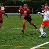 Sophomore Lady Viking Stefanie Zina goes head to head with Bridgewater State Bears at Alumni field on Saturday October 17th. The Bridgewater State Women's soccer team beat the Salem State Lady Vikings 3-1.  Photo by Jennifer Ballou/Salem News