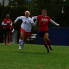 Sophomore Lady Viking Jackie Gauthier goes head to head with Bridgewater State's Jillian Herr, freshman, at Alumni field on Saturday October 17th. The Bridgewater State Women's soccer team beat the Salem State Lady Vikings 3-1.  Photo by Jennifer Ballou/Salem News