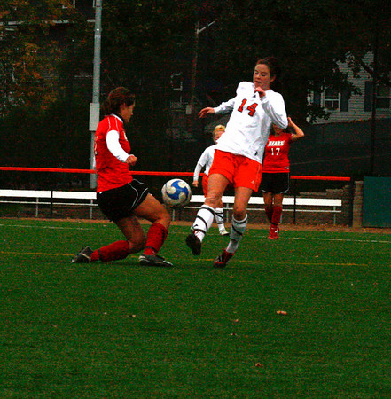 Freshman Lady Viking Lauren Kilduff and freshman Bridgemwater Bear, Jilliam Herr play at Alumni field on Saturday October 17th. The Bridgewater State Women's soccer team beat the Salem State Lady Vikings 3-1.  Photo by Jennifer Ballou/Salem News