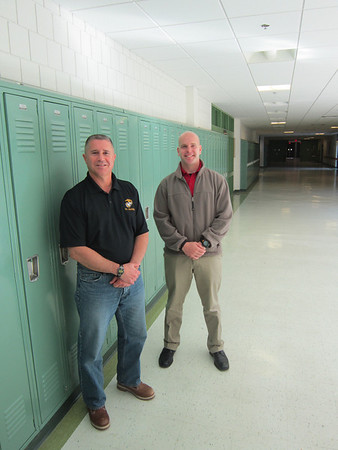 Major Michael Petruzziello (left) and Staff Sgt. Daniel Strong will take over the Junior ROTC program at Salem High School Dec. 1.  Previously, they lead the Junior ROTC program at Winnacunnet High School in N.H. Bethany Bray/staff photo