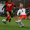 Sophomore Lady Viking Jackie Gauthier goes head to head with Bridgewater State's Jacklyn Wisocky, senior, at Alumni field on Saturday October 17th. The Bridgewater State Women's soccer team beat the Salem State Lady Vikings 3-1.  Photo by Jennifer Ballou/Salem News