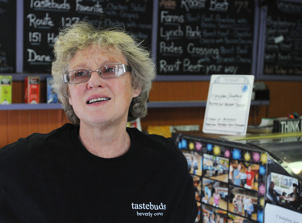 Beverly:<br /> Jan Pelligrini is the owner of Tastebuds Gourmet, a longtime local sandwich shop, which is closing on Friday after 27 years.<br /> Photo by Ken Yuszkus/The Salem News, Thursday, April 11, 2013.