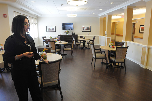 Danvers:<br /> Christine Baldini, administrator at Hawthorne Hill is in the long term care dining area at Hawthorne Hill. <br /> Photo by Ken Yuszkus/The Salem News, Thursday, April 25, 2013.