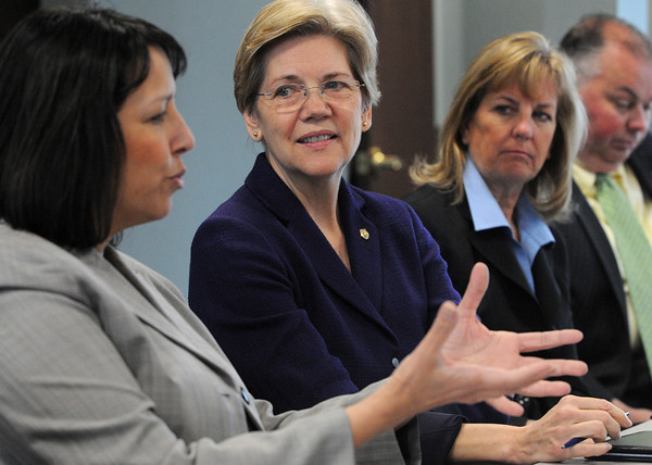 "Salem:<br /> From left, Salem Mayor Kim Driscoll speaks during the ""round table"" discussion while Senator Elizabeth Warren, State Senator Joan Lovely, and Ward 1 city councilor Robert McCarthy listen.<br /> Photo by Ken Yuszkus/The Salem News, Friday, April 12, 2013."