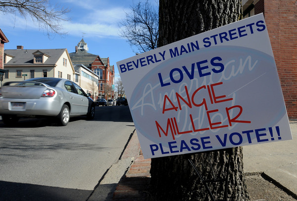Beverly:<br /> A sign on Cabot Street in Beverly supports Angie Miller.<br /> Photo by Ken Yuszkus/The Salem News, Wednesday, April 3, 2013.
