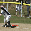 Peabody:<br /> Peabody's first baseman Mikayla Wallace makes the catch at first base to get Lynn Classical's Angela Erelli out during the Lynn Classical at Peabody softball game.<br /> Photo by Ken Yuszkus/The Salem News, Wednesday, April 17, 2013.