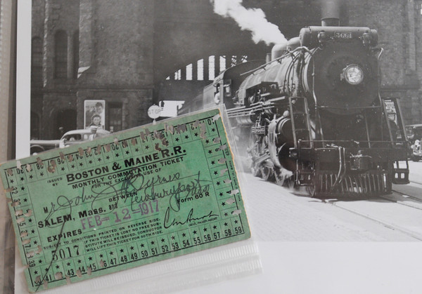 Salem:<br /> This is a train ticket for Salem and a photo of a steam locomotive in Salem. Nelson Dionne has an amazing collection of old Salem business cards, menus, stories, photos, matchbooks and more. He has just been awarded the 2013 Prize for Collecting Works on Paper from Historic New England.<br /> Photo by Ken Yuszkus/The Salem News, Wednesday, April 24, 2013.