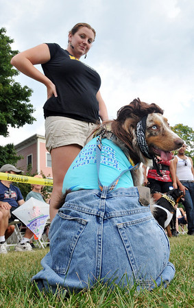 """Salem:   Jenna Melvin of Danvers and her Australian Shepherd Brody compete in the """"what not to wear"""" category of the Heritage Days Dog Show.  photo by Mark Teiwes / Salem News"""