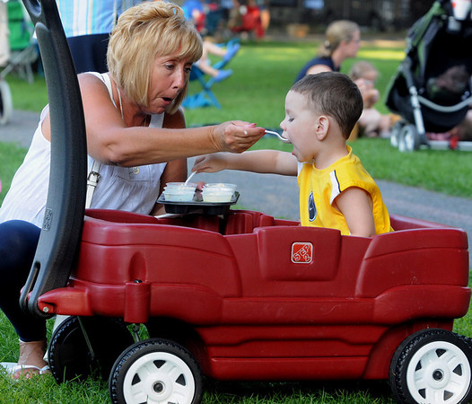 Karen Rowe and her grandson, Alexavier Saldane, 2, enjoy their ice cream at the Ice Scream Bowl on the Salem Common. Families sampled flavors from various North Shore ice cream parlors. The event is run by Salem Main Streets and is part of Heritage Days.<br /> Photo by Ken Yuszkus/Salem News, Tuesday August 10, 2010.