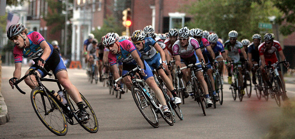 Elite men round the northeast corner of Salem Commen late in the Witches Cup bicycle race. Of the 95 starters, 71 men finished the one-hour race. Photo by Mary Catherine Adams/Salem News.
