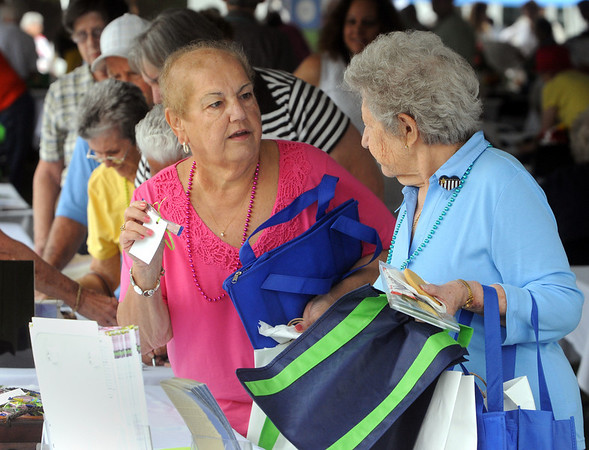 Carol Cecchini, left, and Hazel Bickford, both of Beverly, chat in line while collecting free gifts from the various vendors under the tent during the Senior Citizens Day at Lynch Park in Beverly. Photo by Ken Yuszkus.