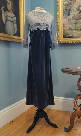 """Peabody:<br /> An evening gown from 1918 on display at the """"Downton Abbey Style,"""" exhibit showing clothing from the Downtown Abbey era -- World War I to the Jazz Age at the Peabody Historical Society.<br /> Photo by Ken Yuszkus, The Salem News, Friday, August 16, 2013."""