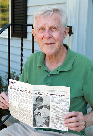 "Peabody: John Waselchuk, of Peabody, a former minor league pitcher in the Sally (South Atlantic) League, once pitched against baseball legend Hank Aaron, and is mentioned in the book ""The Last Hero: A Life of Henry Aaron."" Waselchuk holds an article from The Salem Evening News from 1974 about his days in the Sally League and facing off against Aaron. David Le/Salem News"