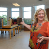 Salem:<br /> Saltonstall's Principal Julie Carter speaks about the improvements in the second floor science room. Saltonstall personnel are moving back into their building on Lafayette Street, after being relocated for two years while the building was renovated.<br /> Photo by Ken Yuszkus, Salem News, Thursday, August 15, 2013.