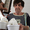 Salem:<br /> Barbara Nowak has her sundaes topped off with whipped cream at the Council on Aging ice cream social held at the Salem Senior Center as part of the Salem Heritage Days celebration.<br /> Photo by Ken Yuszkus, Salem News , Monday, August 5, 2013.