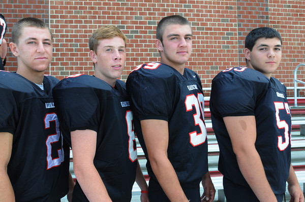 Marblehead:<br /> Marblehead High School football seniors from left, are Trey Blackmer, Dean Fader, Ben Anderson, and Ali Atallah.<br /> Photo by Ken Yuszkus, The Salem News, Friday, August 23, 2013.