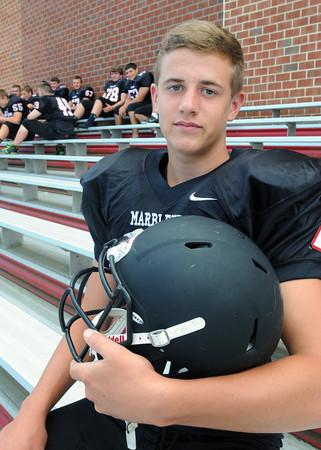 Marblehead:<br /> Marblehead High School football quarterback is Matt Millett.<br /> Photo by Ken Yuszkus, The Salem News, Friday, August 23, 2013.
