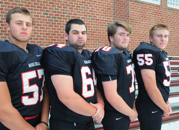 Marblehead:<br /> Marblehead High School football seniors from left, are Sam York, Trevor Gelineau, Crandall Maxwell, and Tom Koopman.<br /> Photo by Ken Yuszkus, The Salem News, Friday, August 23, 2013.