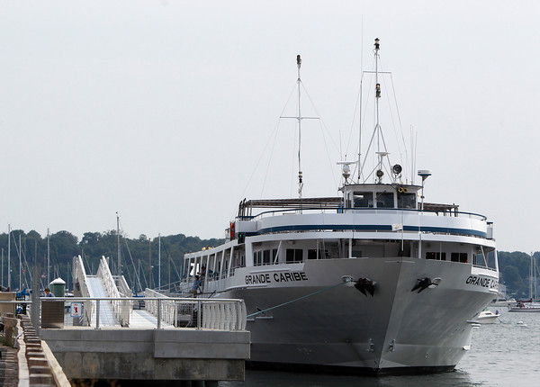 Salem: Grand Caribe, a cruise ship operated by Blount Small Ship Adventures based out of Rhode Island, was docked at the Blaney Street landing on Thursday afternoon, where the Salem Ferry also docks. David Le/Salem News