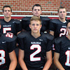 Marblehead:<br /> Marblehead High School football receivers from left, in front, are Jeremy Gillis, Matt Millett, and Brian Daly, in back, Bill Cressy, Will Millett, and Trey Blackmer.<br /> Photo by Ken Yuszkus, The Salem News, Friday, August 23, 2013.
