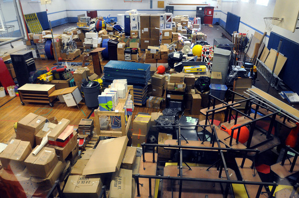 Salem:<br /> The packed gymnasium which is a temporary storage area at the Saltonstall School. Saltonstall personnel are moving back into their building on Lafayette Street, after being relocated for two years while the building was renovated.<br /> Photo by Ken Yuszkus, Salem News, Thursday, August 15, 2013.