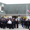 Peabody: Firefighters from Salem, Cambridge, and many surrounding communities came together in front of the Conway, Cahill-Brodeur Funeral Home on Lynn St. in Peabody before the start of a funeral for Kevin O'Boyle, a former Salem firefighter, on Thursday morning. David Le/Salem News