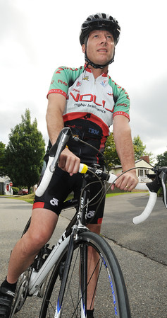 Peabody:<br /> Dave Bethune has ridden in all five past A Reason to Ride charity cancer rides. Earlier this year, he was diagnosed with cancer. He plans to ride again in September's ride. <br /> Photo by Ken Yuszkus, Salem News, Thursday, August 8, 2013