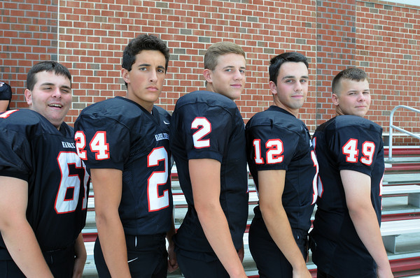 Marblehead:<br /> Marblehead High School football seniors from left, are Michael Simmons, David Bolognese, Matt Millett, Brian Daly, and Steven Roark.<br /> Photo by Ken Yuszkus, The Salem News, Friday, August 23, 2013.