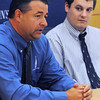Danvers:<br /> Danny Letarte of Peabody, left, has been named head varsity baseball coach, and Connor Fortin of North Reading has become head varsity coach of water polo at St. John's Prep.<br /> Photo by Ken Yuszkus, The Salem News, Tuesday, August 20, 2013.