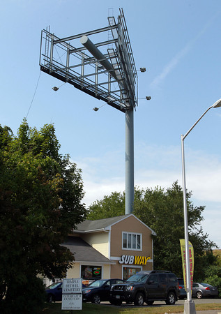 Peabody: There has been much dispute over a billboard put up next to the Subway on Lowell St. in Peabody near Route 1. David Le/Salem News