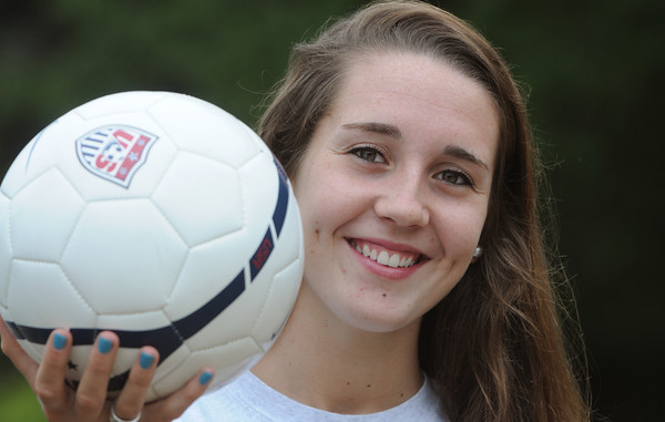 Hamilton:<br /> Hamilton-Wenham's Sam Charette is going to play D1 soccer at UMass Lowell.<br /> Photo by Ken Yuszkus, Salem News, Tuesday, August 13, 2013.