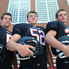 Marblehead:<br /> Marblehead High School football captains from left, are Dylan Cressy, William Gillis, and Jeremy Gillis.<br /> Photo by Ken Yuszkus, The Salem News, Friday, August 23, 2013.