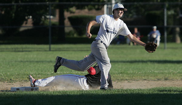 Salem:<br /> Salem's Cody Merrcer is safe on 2nd base on a steal as Hamilton-Wenham's Tom Conville can't reach the throw at the Salem vs. Hamilton-Wenham Senior Babe Ruth Baseball playoff game played at the Palmer Cover baseball field.<br /> Photo by Ken Yuszkus, Salem News , Monday, August 5, 2013.