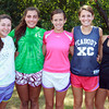 Peabody: Led by senior captains Samantha Allen, center, and Sydney May, second from right, the Peabody High School girls cross country team will look to repeat as state champions this fall. From left are, juniors Julia Merchant, and Carrera Dean, seniors Allen and May, and sophomore MacKenzie Picardy. David Le/Salem News