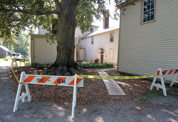 Ipswich: The North Courtyard at the Ipswich Museum's Heard House is closed for repairs. David Le/Salem News