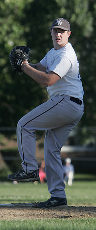Salem:<br /> Hamilton-Wenham's pitcher Pete Duval throws the ball from the mound at the Salem vs. Hamilton-Wenham Senior Babe Ruth Baseball playoff game played at the Palmer Cover baseball field.<br /> Photo by Ken Yuszkus, Salem News , Monday, August 5, 2013.