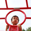 Beverly: Three-year-old Hunter McCarthy, of Beverly, enjoys the view from his high perch at the top of the jungle gym at Kimball Haskell Park on Tuesday afternoon. David Le/Salem News